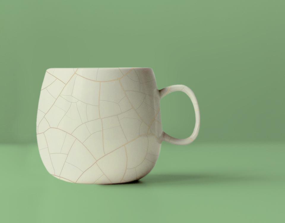 Efecto cerámico aplicado sobre una taza