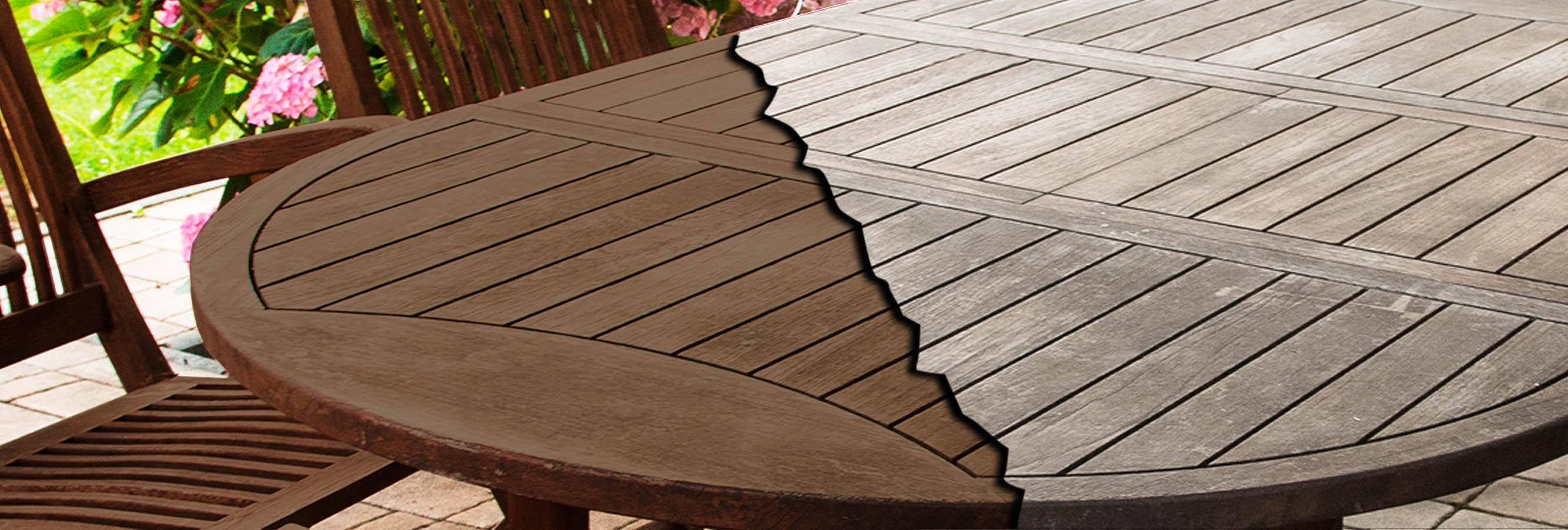 Productos aplicados a mobiliario exterior de madera para su protección y belleza